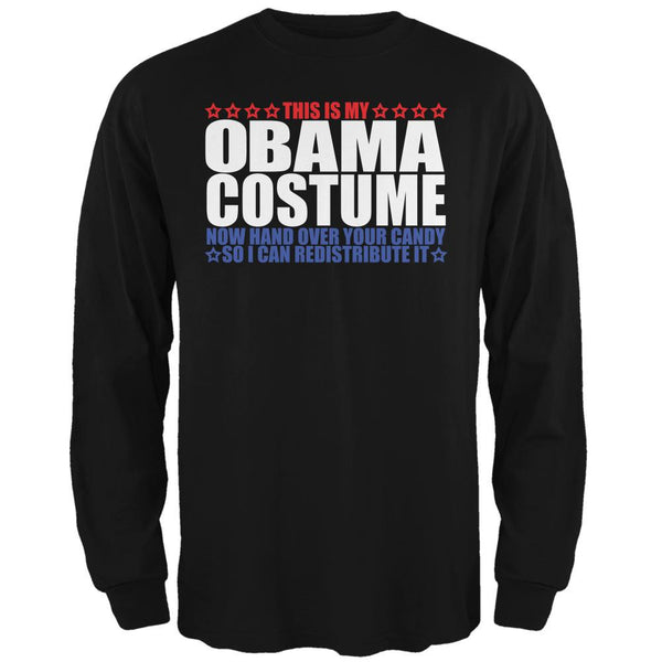 Halloween Funny Obama Costume Black Adult Long Sleeve T-Shirt