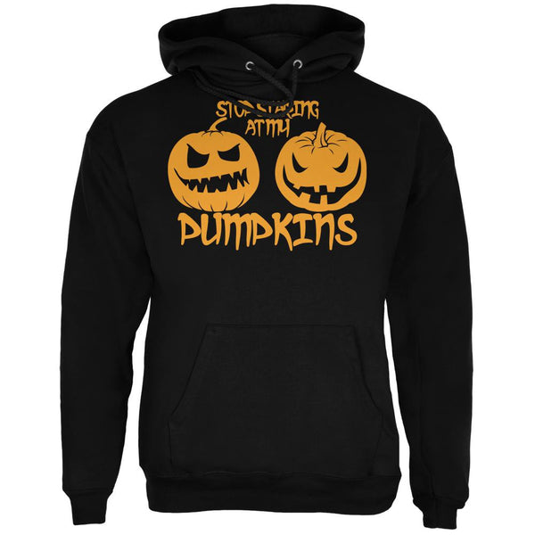 Halloween Staring at my Pumpkins Black Adult Hoodie