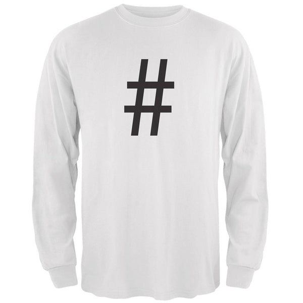 Halloween Hashtag White Adult Long Sleeve T-Shirt