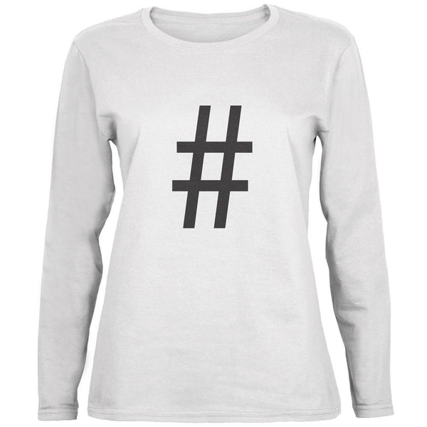 Halloween Hashtag White Womens Long Sleeve T-Shirt