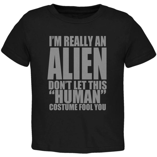 Halloween Human Alien Costume Black Toddler T-Shirt
