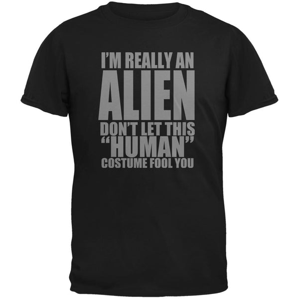 Halloween Human Alien Costume Black Youth T-Shirt