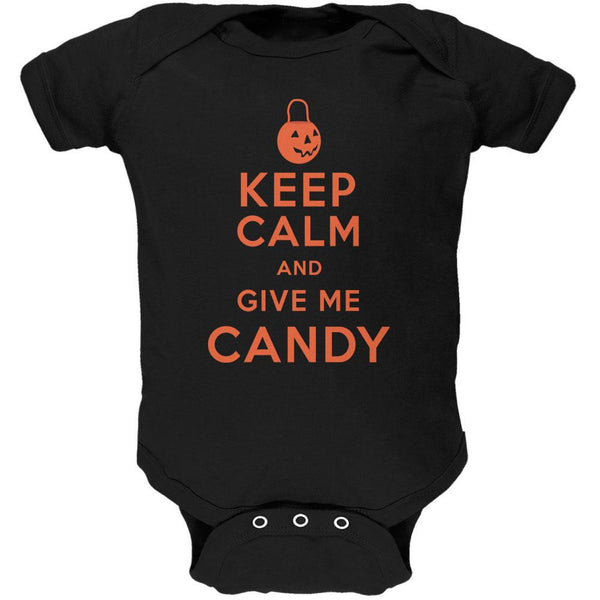 Halloween Keep Calm Give Me Candy Black Soft Baby One Piece