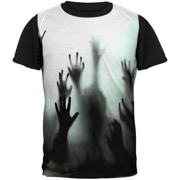 Halloween Zombie Hands Adult Black Back T-Shirt