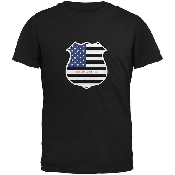 Blue Lives Matter Flag Badge Black Adult T-Shirt