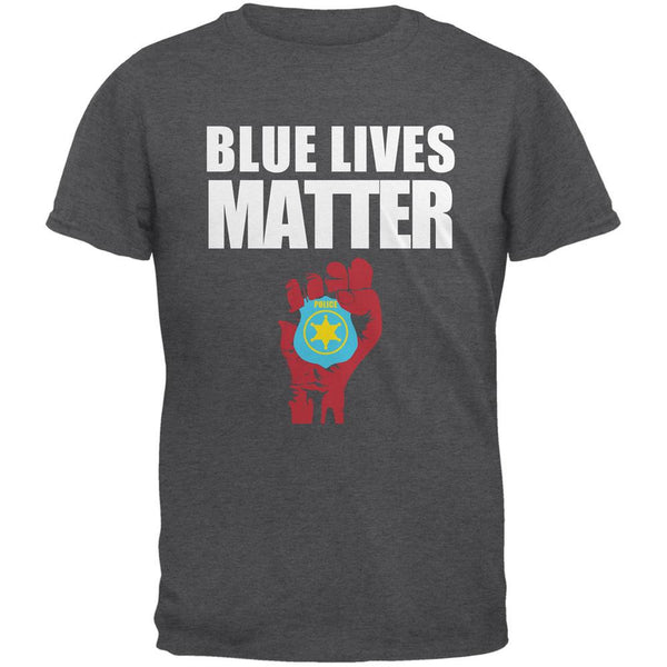 Blue Lives Matter Fist Dark Heather Adult T-Shirt