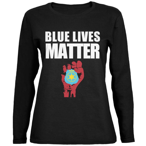 Blue Lives Matter Fist Black Womens Long Sleeve T-Shirt