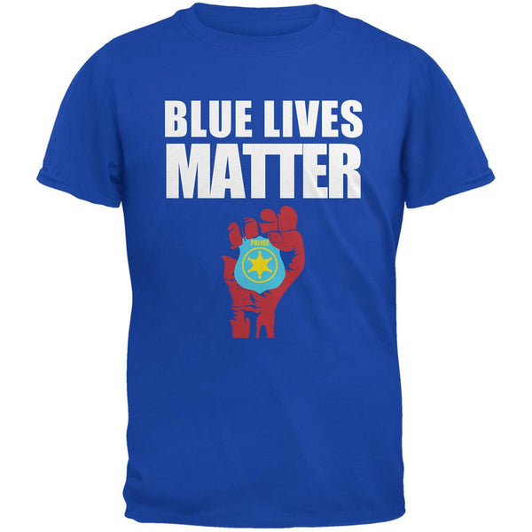 Blue Lives Matter Fist Royal Adult T-Shirt