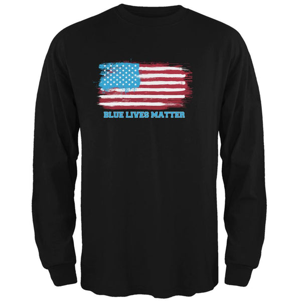 Blue Lives Matter Distressed Flag Black Adult Long Sleeve T-Shirt