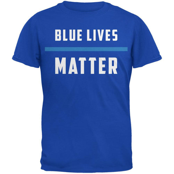 Police Blue Lives Matter Thin Blue Line Royal Adult T-Shirt