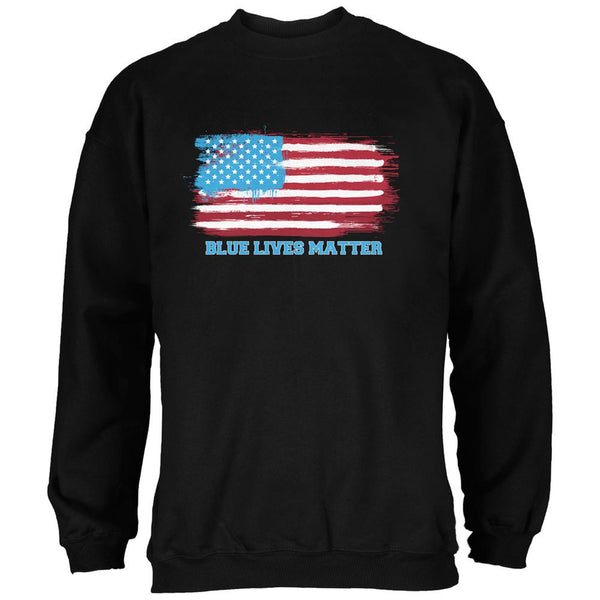 Blue Lives Matter Distressed American Flag Black Adult Sweatshirt