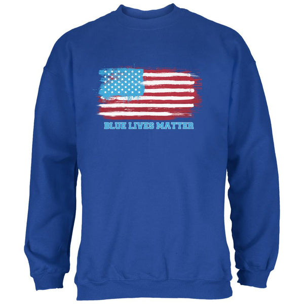 Blue Lives Matter Distressed American Flag Royal Adult Sweatshirt