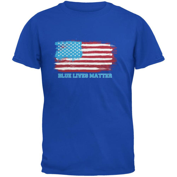 Blue Lives Matter Distressed American Flag Royal Adult T-Shirt