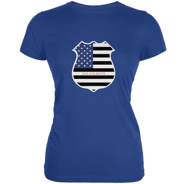 Blue Lives Matter Flag Badge Royal Juniors Soft T-Shirt