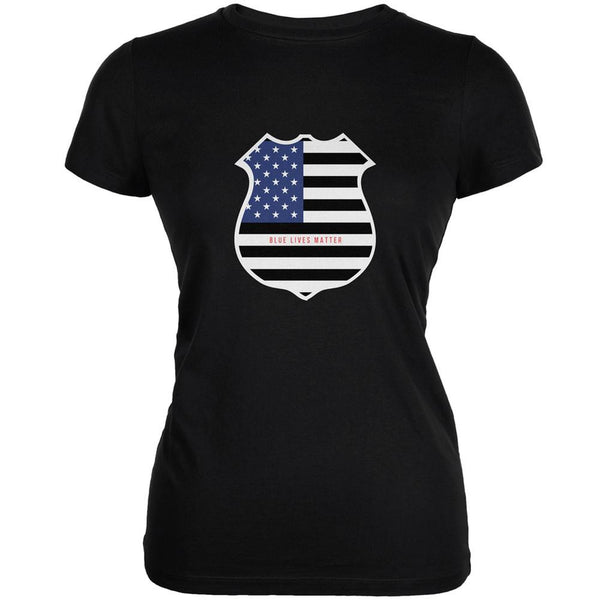 Blue Lives Matter Flag Badge Black Juniors Soft T-Shirt