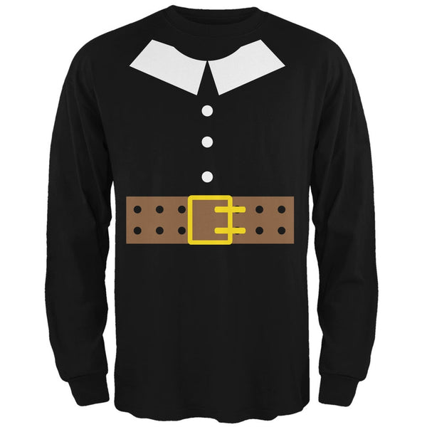 Halloween Pilgrim Costume Black Adult Long Sleeve T-Shirt