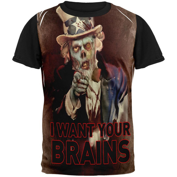 Halloween Zombie Uncle Sam Adult Black Back T-Shirt