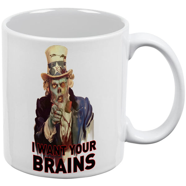 Halloween Zombie Uncle Sam White All Over Coffee Mug