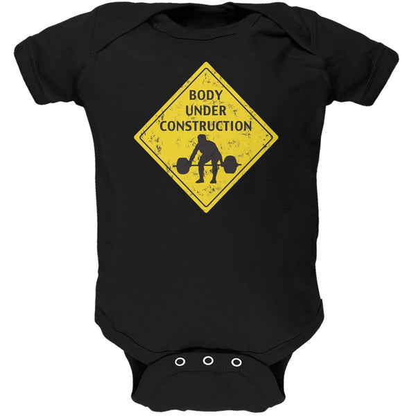 Body Under Construction Funny Black Soft Baby One Piece