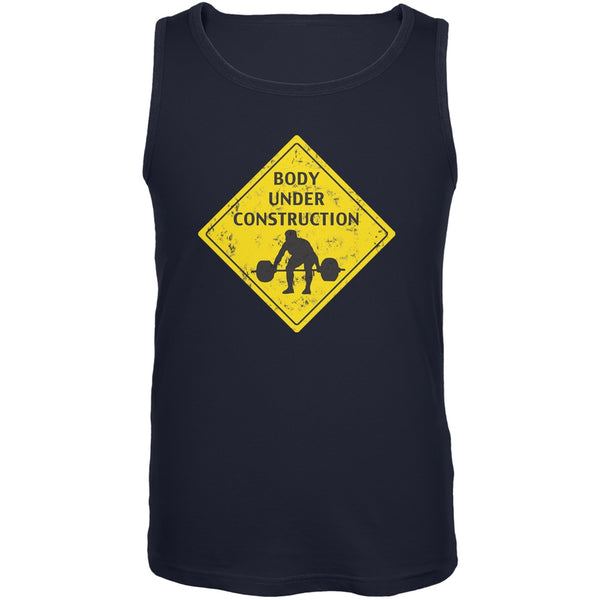 Body Under Construction Funny Navy Adult Tank Top