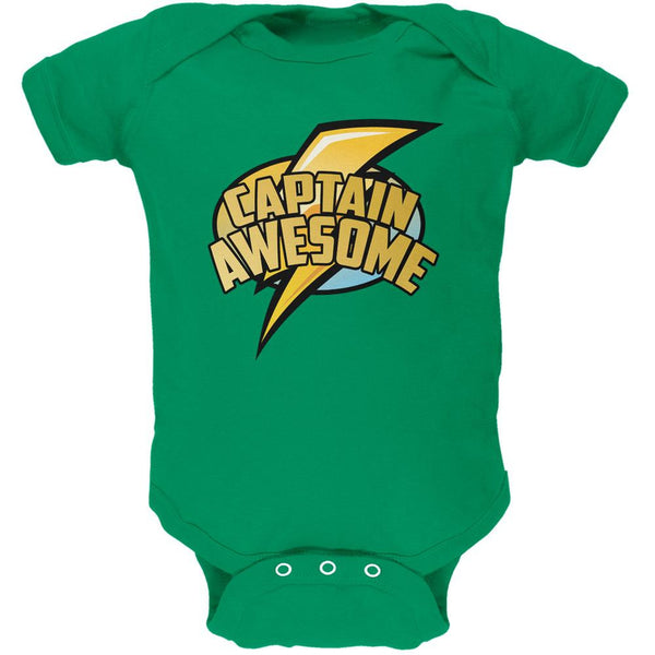 Captain Awesome Kelly Green Soft Baby One Piece