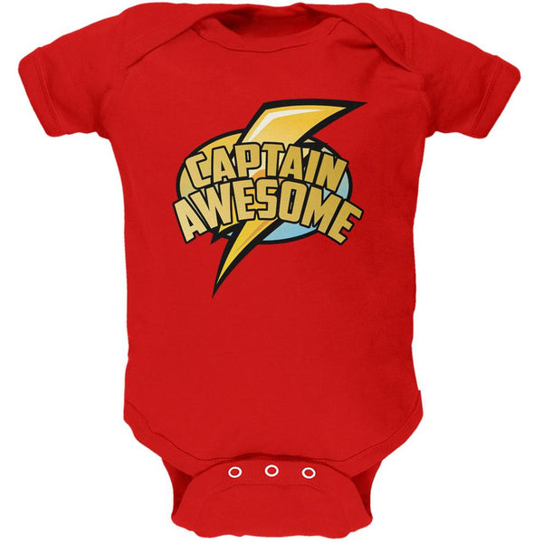 Captain Awesome Red Soft Baby One Piece