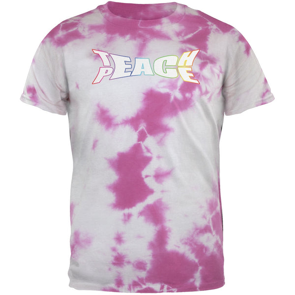 Teach Peace Lightning Pink Tie Dye Adult T-Shirt