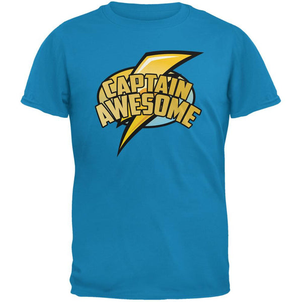 Captain Awesome Sapphire Blue Adult T-Shirt
