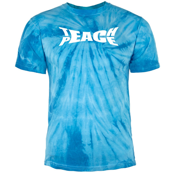 Teach Peace Pinwheel Blue Tie Dye Adult T-Shirt