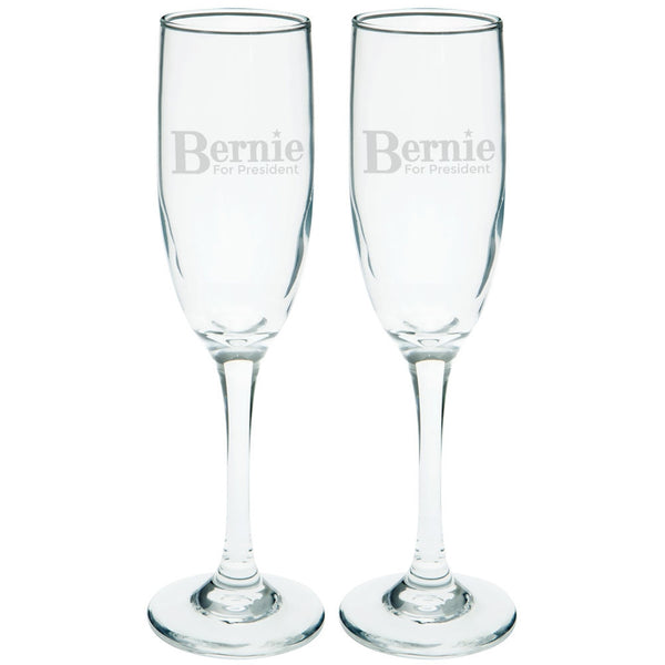 Election 2016 - Bernie Sanders for President Etched Champagne Glass Set