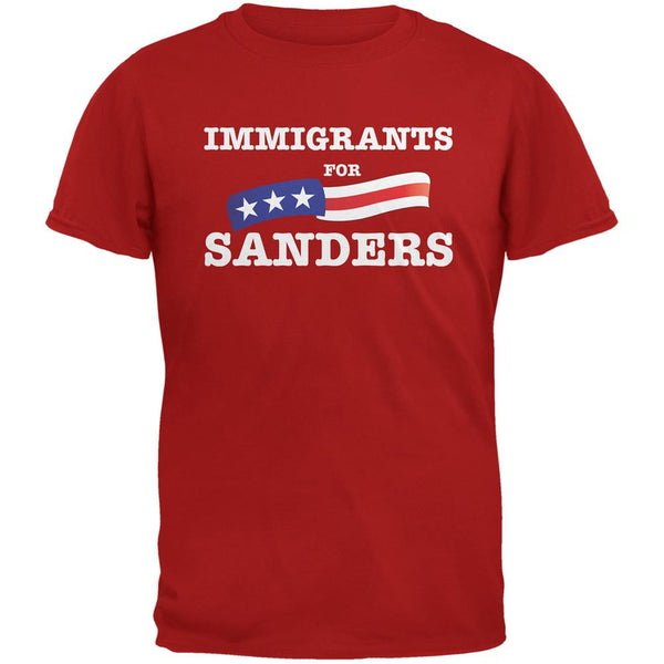 Election 2016 Immigrants For Sanders Red Adult T-Shirt