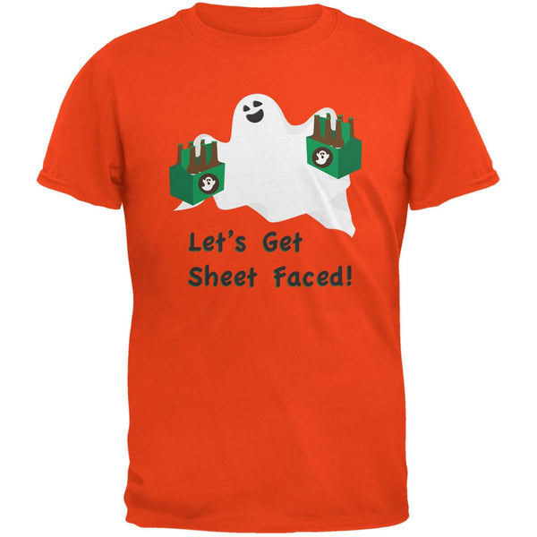 Halloween Ghost Sheet Faced Orange Adult T-Shirt