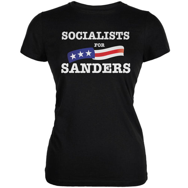 Election 2016 Socialists For Sanders Black Juniors Soft T-Shirt