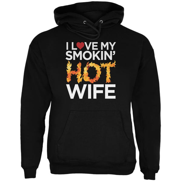 Valentine's Day I Love My Smokin Hot Wife LGBT Black Adult Hoodie