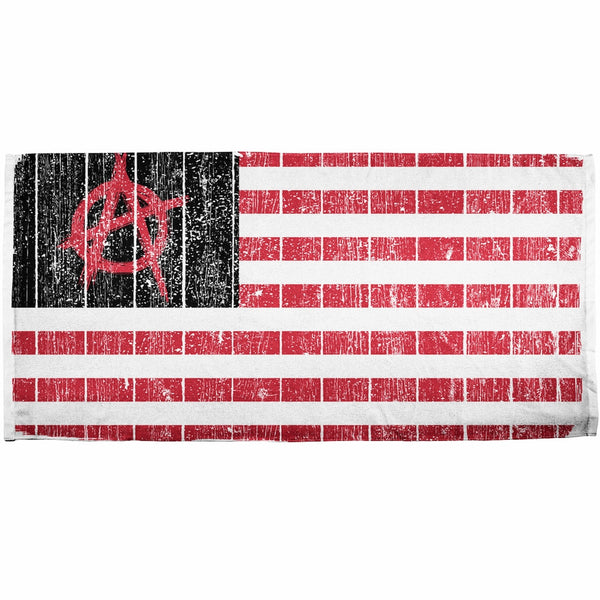 American Anarchy Flag Distressed All Over Bath Towel