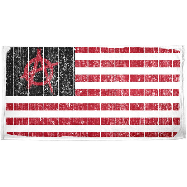 American Anarchy Flag Distressed All Over Beach Towel