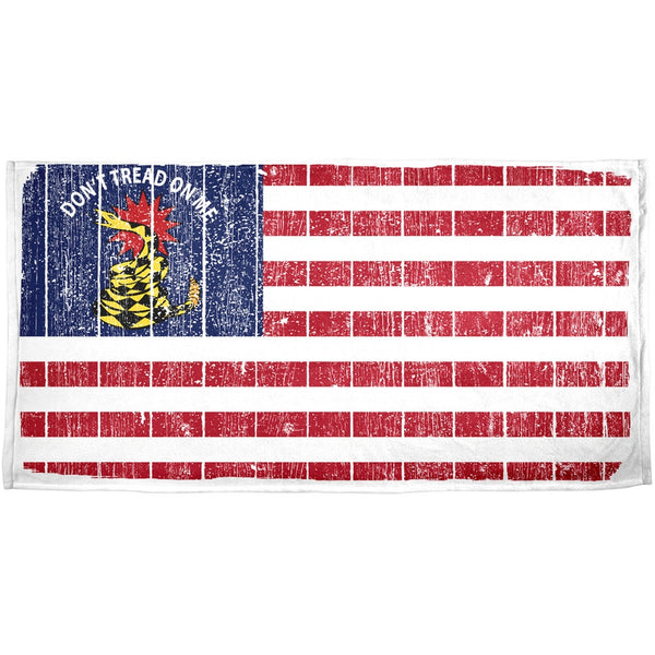 American Gadsden Flag Distressed All Over Beach Towel