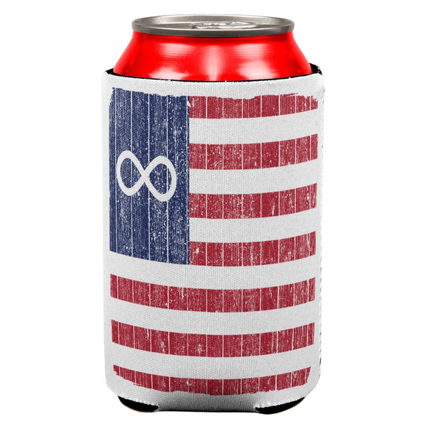 American Metis Flag Distressed All Over Can Cooler