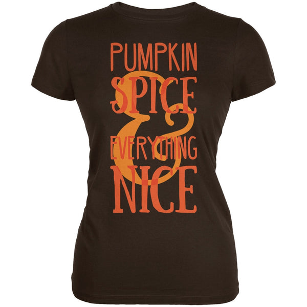 Autumn Pumpkin Spice & Everything Nice Brown Juniors Soft T-Shirt