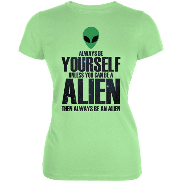 Halloween Always Be Yourself Alien Mint Juniors Soft T-Shirt