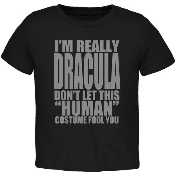 Halloween Human Dracula Costume Black Toddler T-Shirt