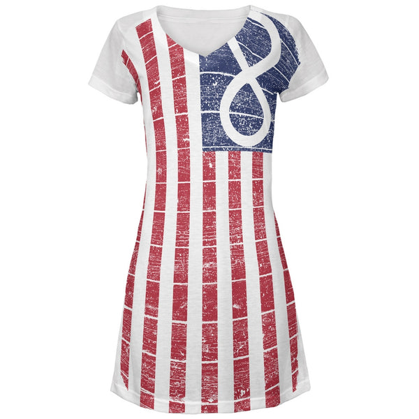 American Metis Flag Distressed All Over Juniors V-Neck Dress