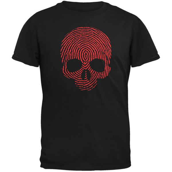 Fingerprint Skull Black Adult T-Shirt