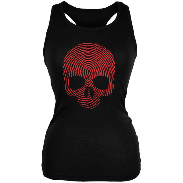 Fingerprint Skull Black Juniors Soft Tank Top