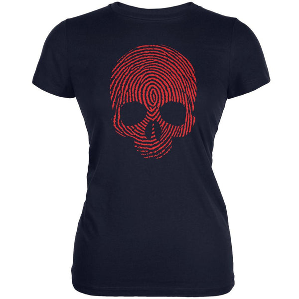 Fingerprint Skull Navy Juniors Soft T-Shirt