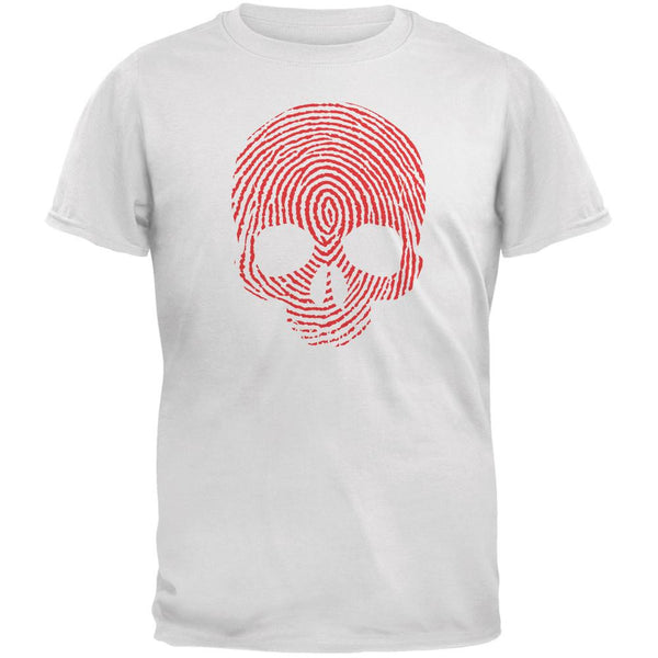 Fingerprint Skull White Adult T-Shirt