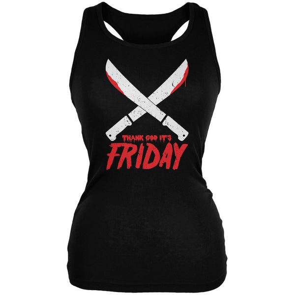 Thank God Its Friday Horror Black Juniors Soft Tank Top