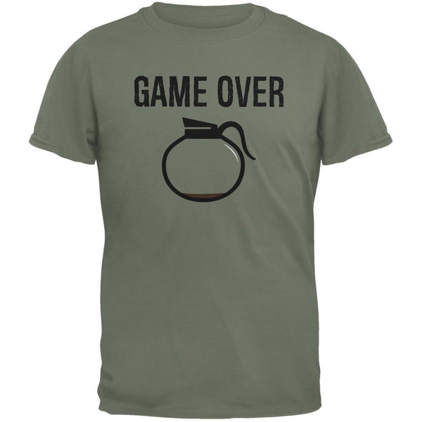 Coffee Game Over Military Green Adult T-Shirt