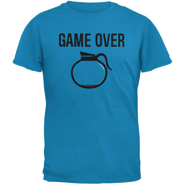 Coffee Game Over Sapphire Blue Adult T-Shirt