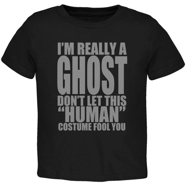 Halloween Human Ghost Costume Black Toddler T-Shirt